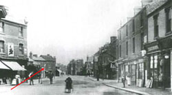 Horsefair in 1910 - Weavers Cottages in Middle distance (Kidderminster Library)